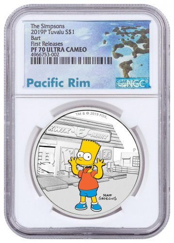 2019-P Tuvalu The Simpsons - Bart 1 oz Silver Colorized Proof $1 Coin NGC PF70 UC FR Exclusive Pacific Rim Label