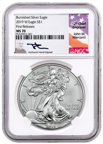 2019-W Burnished American Silver Eagle NGC MS70 FR Mercanti Signed Label