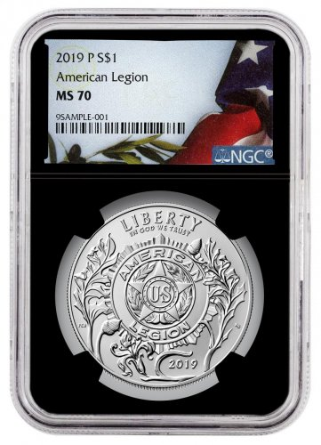 2019-P American Legion 100th Anniversary Commemorative Silver Dollar Coin NGC MS70 Black Core Holder American Liberty Flag Label