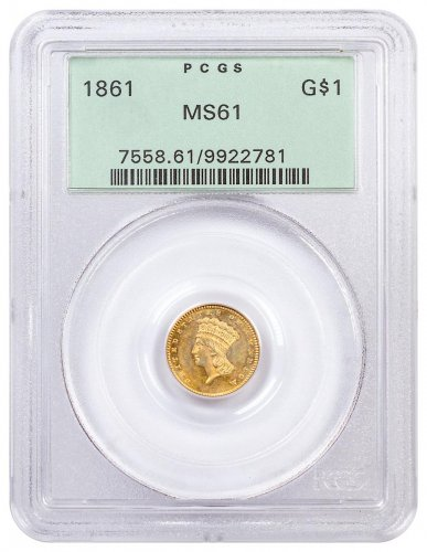 1861 Gold $1 Indian Head PCGS MS61