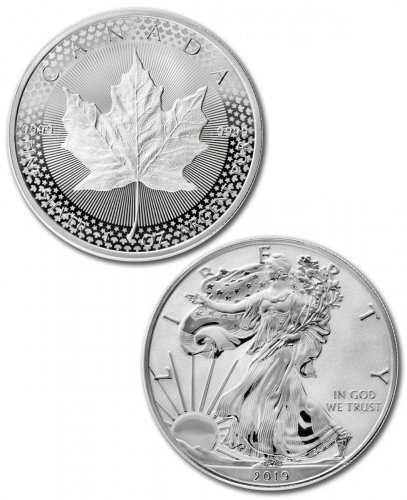 2019 Silver Eagle & Maple Leaf - Pride of Two Nations 2-Coin RCM Set Coin GEM Proof OGP