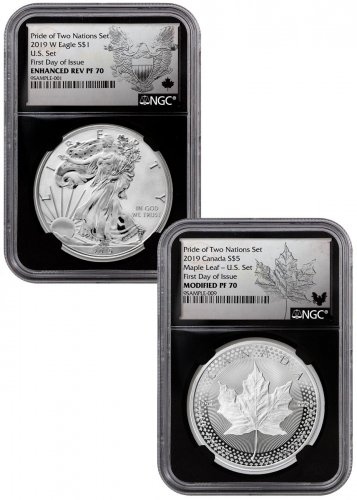 2019 United States & Canada 1-oz Silver Eagle & Maple Leaf - Pride of Two Nations 2-Coin US Mint Set NGC PF70 FDI Black Core Holder Exclusive Eagle & Maple Labels with OGP