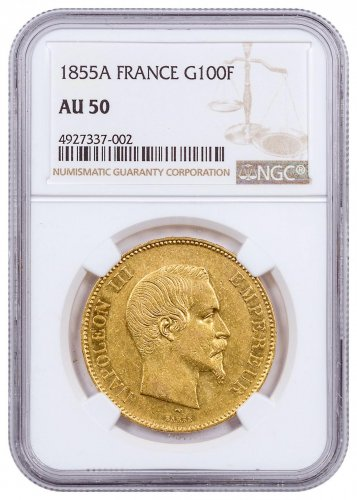 1855A France Napoleon III Gold Fr.100 Coin NGC AU50
