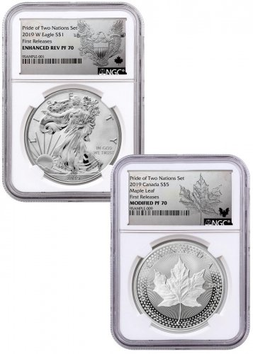 2019 United States & Canada 1 oz Silver Eagle & Maple Leaf - Pride of Two Nations 2-Coin Set NGC PF70 FR Exclusive Eagle & Maple Labels with OGP