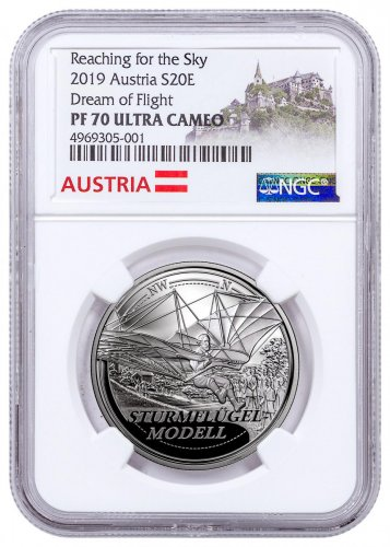 2019 Austria Reaching for the Sky - Dream of Flight Silver Proof €20 Coin NGC PF70 UC Exclusive Austria Label