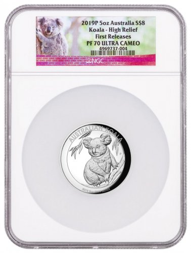2019-P Australia 5 oz High Relief Silver Koala Proof $8 Coin NGC PF70 UC FR Koala Label