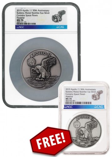 2-Medal Set - 1969-2019 Apollo 11 50th Anniversary Robbins Medals 5 oz Silver with Space Flown Alloy Antiqued Medal BOGO - includes Apollo 11 1 oz Silver Medal NGC MS70 With COA, Story card & Box w/footprint