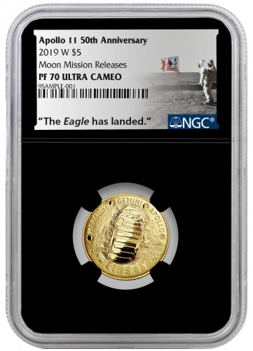 2019-W US Apollo 11 50th Anniversary $5 Gold Commemorative Coin NGC PF70 Moon Mission Releases Black Core Holder