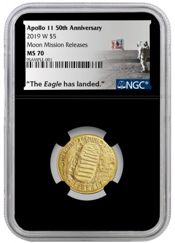 2019-W US Apollo 11 50th Anniversary $5 Gold Commemorative Coin NGC MS70 Moon Mission Releases Black Core Holder