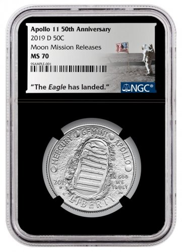2019-D US Apollo 11 50th Anniversary Commemorative Clad Half Dollar Coin NGC MS70 Moon Mission Releases Black Core Holder