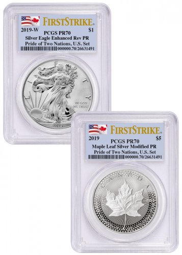 2019 United States & Canada 1 oz Silver Eagle & Maple Leaf - Pride of Two Nations 2-Coin Set PCGS PR70 FS Flag Label