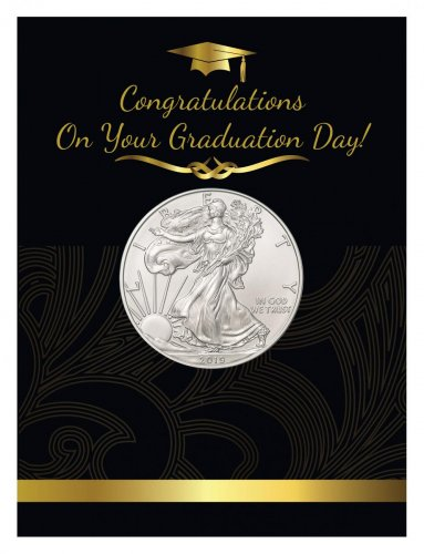 2019 1 oz Silver American Eagle $1 Coin BU Graduation Coin Card