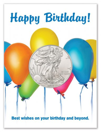 2019 American Silver Eagle BU Happy Birthday Balloons Coin Card