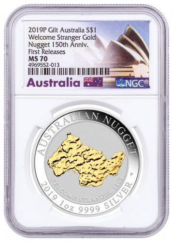 2019-P Australia 1 oz Silver Gilt Nugget - Welcome Stranger $1 Coin NGC MS70 FR Opera House Label