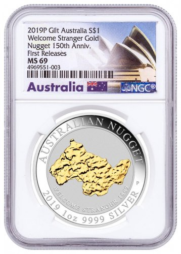 2019-P Australia 1 oz Silver Gilt Nugget - Welcome Stranger $1 Coin NGC MS69 FR Opera House Label