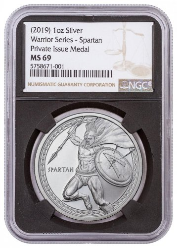 Golden State Mint Spartan 1 oz Silver Round NGC MS69 Black Core Holder
