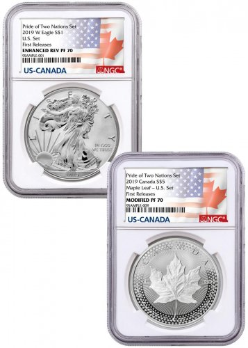 2019 United States & Canada 1 oz Silver Eagle & Maple Leaf - Pride of Two Nations 2-Coin Set NGC PF70 FR Pride of Two Nations Label with OGP
