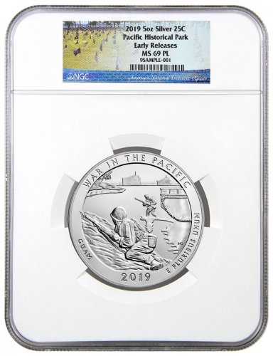2019 25C 5 oz. Silver ATB War in the Pacific National Historic Park (Guam) Coin NGC MS69 PL ER