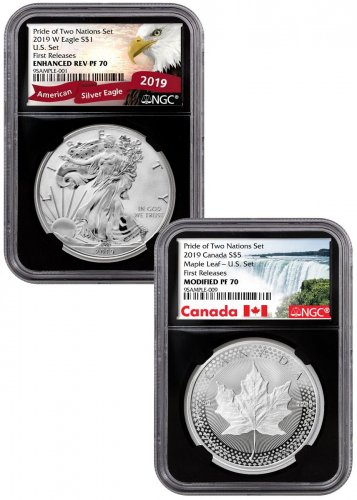 2019 United States & Canada 1-oz Silver Eagle & Maple Leaf - Pride of Two Nations 2-Coin US Mint Set NGC PF70 FR Black Core Holder Exclusive Maple & Eagle Labels
