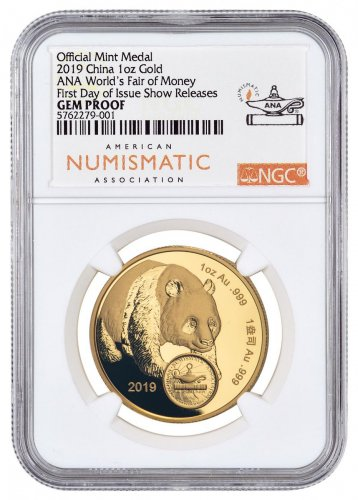 2019 China Chicago World's Fair of Money Show Panda 1 oz Gold Proof Medal Scarce and Unique Coin Division NGC GEM Proof UC First Day Show Release
