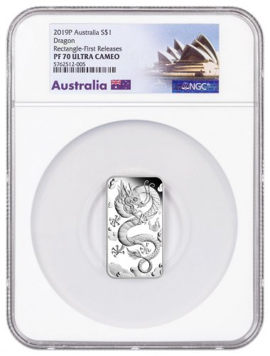 2019-P Australia 1 oz Rectangular Silver Dragon Bar Proof $1 Coin NGC PF70 UC FR Opera House Label