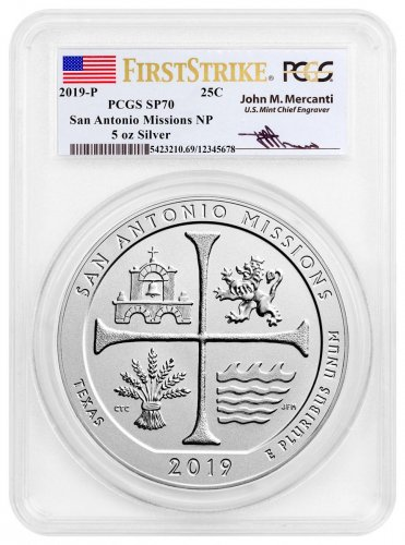 2019-P San Antonio Missions Historical Park 5 oz. Silver America the Beautiful Specimen Coin PCGS SP70 FS Mercanti Signed Label
