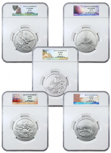 2012 5-Coin Set America the Beautiful 5 oz Silver ATB Specimen NGC SP70