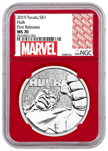 2019 Tuvalu Hulk 1 oz Silver Marvel Series $1 Coin NGC MS70 FR Red Core Holder Marvel Series Label