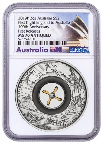 2019 Australia 2 oz First Flight from England to Australia Antiqued Silver $2 Coin NGC MS70 FR