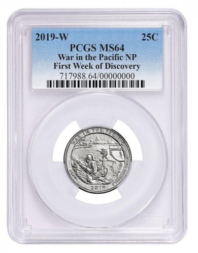2019-W Clad War in the Pacific - Guam America the Beautiful Quarter PCGS MS64 First Week Issue Blue Label