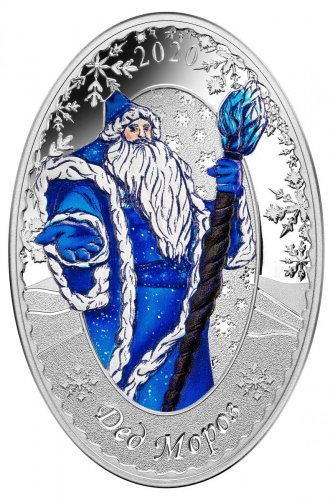2020 Solomon Islands Father Frost Oval-Shaped 1 oz Silver Proof $5 Coin GEM Proof Russian Doll Packaging