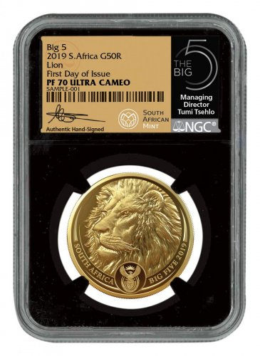 2019 South Africa 1 oz Gold R50 Big 5 Lion Scarce and Unique Coin Division NGC PF70 UC FDI Tumi Signature Label