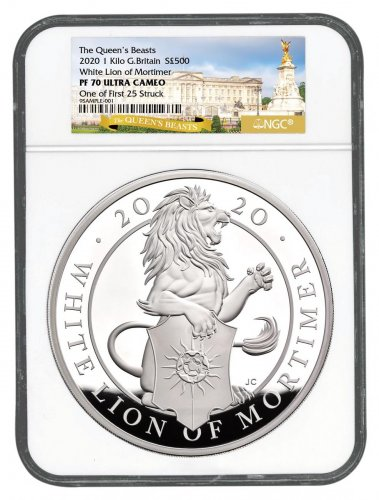 2020 Great Britain 1 Kilo Silver Queen's Beasts - White Lion of Mortimer £500 Coin Scarce and Unique Coin Division NGC PF70 One of First 25 Struck Storycard & COA