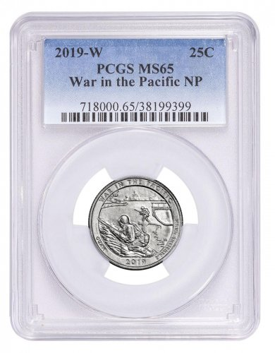 2019-W Clad War in the Pacific - Guam America the Beautiful Quarter PCGS MS65