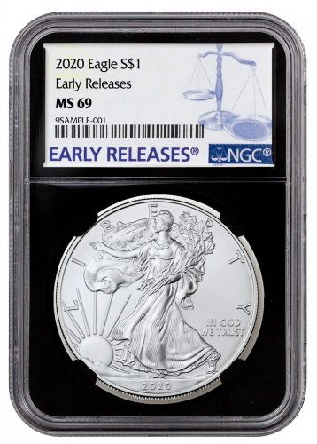 2020 1 oz American Silver Eagle $1 Coin NGC MS69 ER Black Core Holder