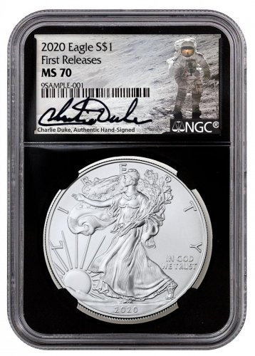 2020 1 oz American Silver Eagle $1 Coin NGC MS70 FR Black Core Holder Charlie Duke Signed Label