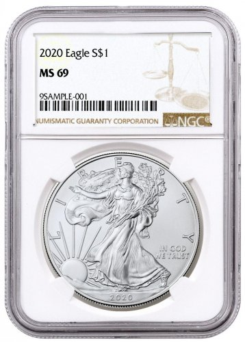 2020 1 oz American Silver Eagle $1 Coin NGC MS69 Brown Label