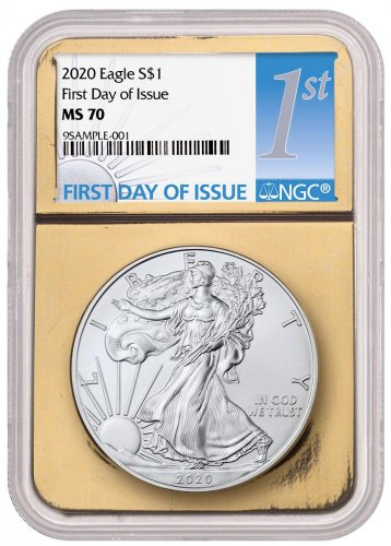 2020 1 oz American Silver Eagle $1 Coin NGC MS70 FDI Gold Foil Core