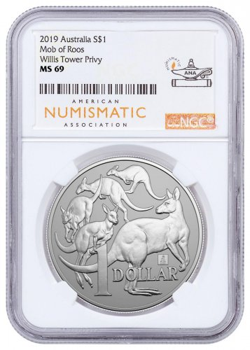 2019 Australia 1 oz Silver Kangaroo - Willis Tower Privy $1 Coin NGC MS69 ANA Label