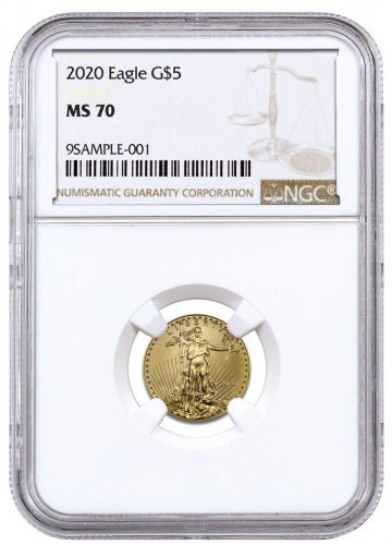 2020 1/10 oz Gold American Eagle $5 NGC MS70 Brown Label