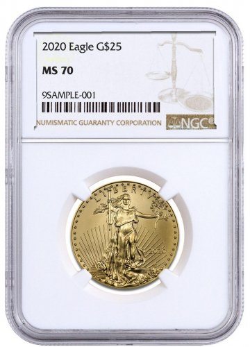 2020 1/2 oz Gold American Eagle $25 NGC MS70 Brown Label