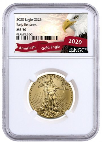 2020 1/2 oz Gold American Eagle $25 NGC MS70 ER Exclusive Eagle Label
