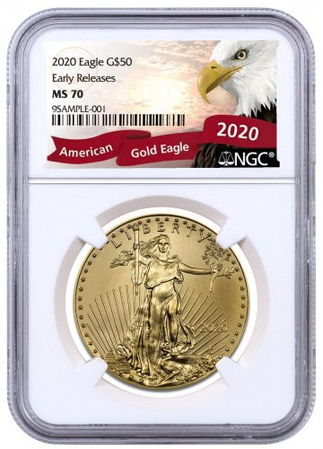 2020 1 oz Gold American Eagle $50 NGC MS70 ER Exclusive Eagle Label