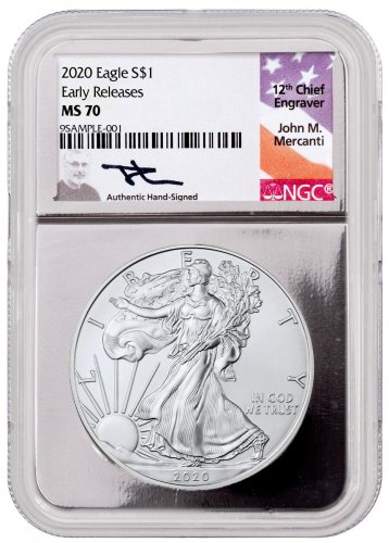 2020 1 oz American Silver Eagle $1 Coin NGC MS70 ER Silver Core Holder Mercanti Signed Label