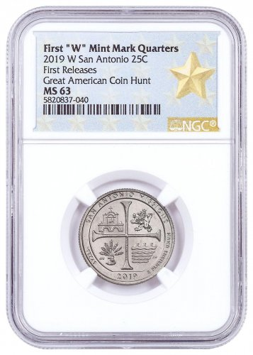 2019-W 25C Clad America the Beautiful San Antonio Missions Historical Park Quarter NGC MS63 FR West Point Star Label
