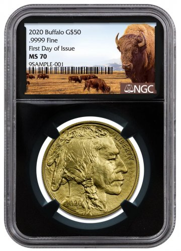 2020 1 oz Gold Buffalo $50 Coin NGC MS70 FDI Black Core Holder Buffalo Label