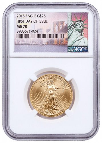 2015 1/2 oz Gold American Eagle $25 NGC MS70 FDI Statue of Liberty Label