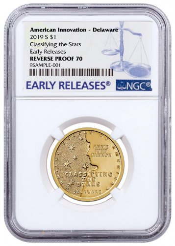 2019-S American Innovation Clad Dollar Reverse Proof Delaware $1 Coin NGC PF70 ER