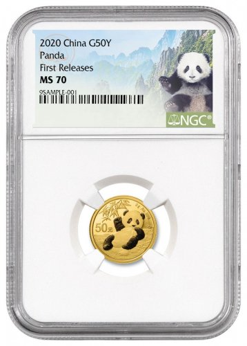 2020 China 3 g Gold Panda ¥50 Coin NGC MS70 FR Panda Label