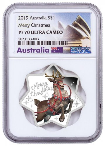 2019-P Australia Merry Christmas - Reindeer Star Shaped 1 oz Silver $1 Coin NGC PF70 UC Opera House Label